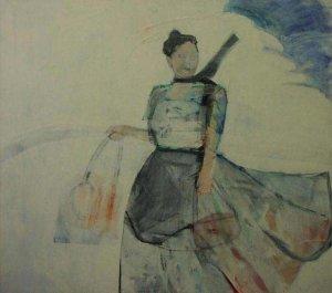 Vrouw In Wind 1988 Chris van Voorst